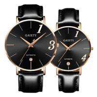 Fashion Couple Watch Leather Strap Line Analog Quartz Ladies Wrist Watches Gift