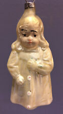 Antique Angelic Girl German Embossed Figural feather Tree Christmas ornament vtg