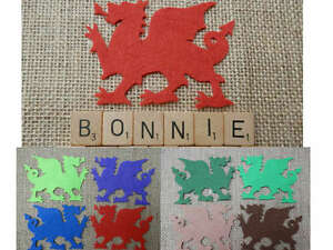 FELT x4 DRAGONS die cuts Appliqués Red Welsh Flag How to Train your - VARIOUS