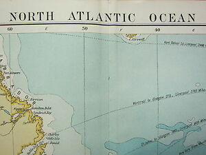 1919 LARGE MAP ~ NORTH ATLANTIC OCEAN WEST INDIES CENTRAL AMERICA AFRICA ROUTES