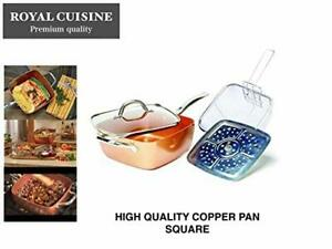 """5 in 1 Copper Coated Induction Base Square Pan 5 Piece Set, Casserole 9.5"""" Pan"""