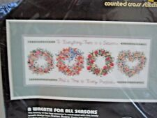 Dimensions Counted Cross Stitch Kit Wreath For All Seasons #3709 Avery Opened