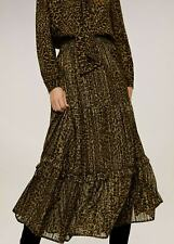 MANGO Metallic Thread Leopard Print Midi Tiered Full Skirt Size Medium