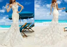 New Custom White/Ivory Beach Mermaid Sleeveless Bridal Gown Wedding Dress