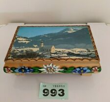 Vintage wooden mountain scene edelweiss tune musical box