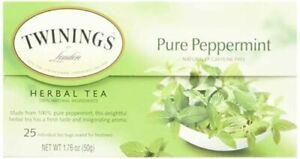 Twinings, Herbal Tea, Pure Peppermint, Caffeine Free, 25 Tea Bags (50 g)