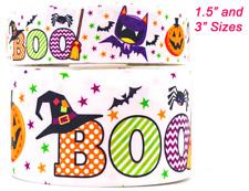 "3"" 1.5"" White Halloween Boo Cheer Bow Hair Bow Inch Printed Ribbon 3 Inch"