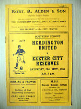 1956 SOUTHERN LEAGUE- HEADINGTON UNITED v. EXETER CITY RESERVES, 29th Sept