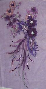 "16"" Purple 3D Embroidery Sequin Rhinestone Flower Sewing Appliqué Trim"