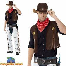 Cowboy Brown Waistcoat Chaps Western Country Wild West Mens Fancy Dress Costume