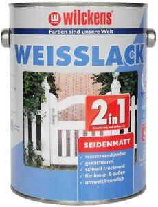 2,5 Liter Wilckens Weisslack Seidenmatt 2in1 Grundierung und Lack
