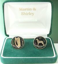 1947 IRELAND cufflinks from OLD IRISH sixpence coins Black Gold