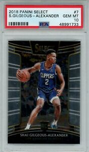 2018-19 Panini Select Rookie #7 Shai Gilgeous-Alexander Clippers Thunder PSA 10