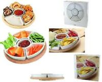 APOLLO 6 CERAMIC RUBBER WOOD DISHES REVOLVING LAZY SUSAN SNACK DISHES HOME