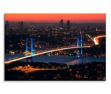 120x80cm Leinwandbild auf Keilrahmen Türkei Istanbul Bosporusbrücke Nacht