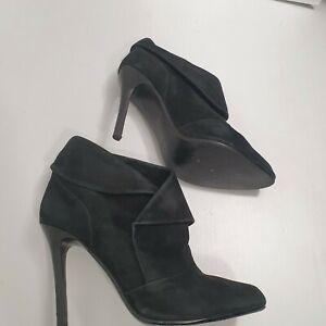 Sachi Black Suede Stiletto Boots Sz 8