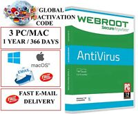 Webroot SecureAnyWhere Antivirus 1 Year 3 DEVICES PC MAC GLOBAL (EMAIL DOWNLOAD)