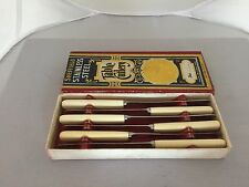 """MIXED LOT OF 6 IVORINE HANDLED AND STAINLESS TEA KNIVES 6.75"""" Long (TK196)"""