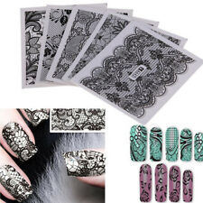 24 Sheets DIY Black Lace Stickers Nail Art Water Transfer Printing Decals