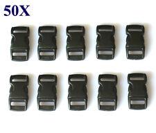 50 Black Plastic Contoured Side Release Buckles for backpack Paracord Bracelets