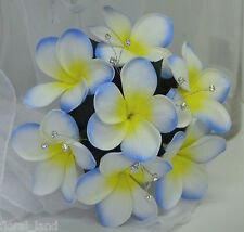 Silk Wedding bouquet blue white yellow latex frangipani posy diamante flowers