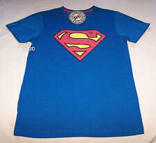 DC Comics Superman Classic Logo Mens Blue Printed T Shirt Size XXS New