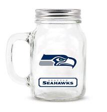 Seattle Seahawks Mason Jar - 20oz Glass With Lid [NEW] NFL Mug Pint CDG