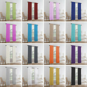 Pairs Of Sheer Slot Top Plain Voile Net Curtain Panels - Free Postage