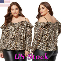 PLUS SIZE Women Sexy Off Shoulder Leopard Tops Blouse Ladies Long Sleeve T-shirt