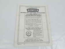 Craftsman Oxygen & Acetylene Regulator 624.54300 624.54310 Manual & Parts List