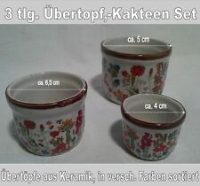 Set 3 Stück, Übertopf, Kakteentopf aus Keramik, in versch. Farben sortiert, Nr.3