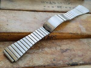 Vintage Genuine Solid Links Fishbone Steel Watch Strap Bracelet For Seiko 20mm