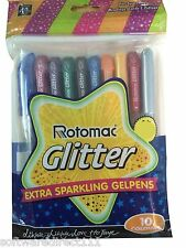 Rotomac Glitter Gel Pen (10 Colours) (Tattoos, Cards & Coloring) Original + New