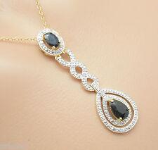 Colgante Zafiro & Diamante Con Cadena 45cm Plata de ley 925 Bañado en oro