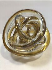 """Art Glass Twisted Knot Rope Amber Clear HQT Hand Made Home Design 5.5"""""""