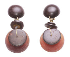 Cute as a Button- Dark Brown Wooden Cell Stacks & Clip on Earrings(Zx11/113)