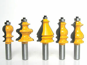 """5 pc 1/2"""" Shank Architectural Specialty Molding 2 Router Bit set S"""