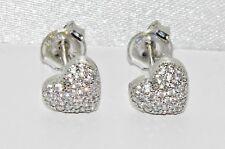 9ct White Gold Diamond Heart Cluster Ladies Stud Earrings -