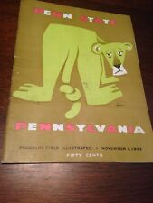 1952 Penn State Vs. Pennsylvania Football Program 11/1/52 Franklin Field Nice!