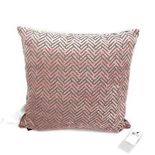 "Hallmart Collectibles (HMC) Geo Velvet 18"" Square Decorative Pillow - Blush/Gray"
