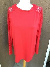 New Chico's Chinese Red Mock Neck Ponte Lace Sleeve Knit Top Sz 3 = XL 16 18 NWT