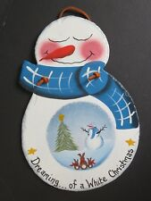 Hand Painted SNOWMAN On SLATE Wall Hanging (C11)