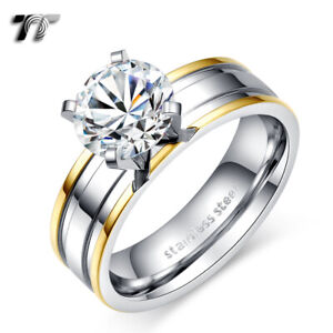 TT Double Gold Stripe Stainless Steel Engagment Wedding Band Ring (R334)