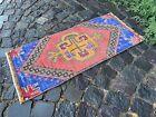 Turkish small rug, Handmade wool rug, Vintage rug, Doormat   1,5 x 3,3 ft
