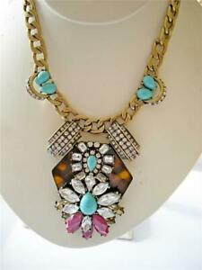 J CREW AQUA TORTOISE GOLD SOMETHING NEW Statement NECKLACE NWT CRYSTAL + POUCH
