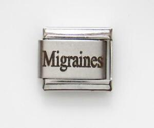 Migraines Laser Medical Alert for Italian Charm Bracelets Free Medical Card