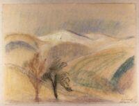 Pastell Landschaft in den Vogesen Frankreich 1917 Heinrich Heidner 1876-1974