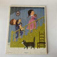 Vintage Playskool Board Puzzle Kids With Cat & Dog 8x10""