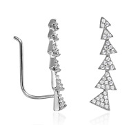 """Climbing Earrings .925 Sterling Silver White CZ Curved Arrow Ear Climbers 7/8"""""""