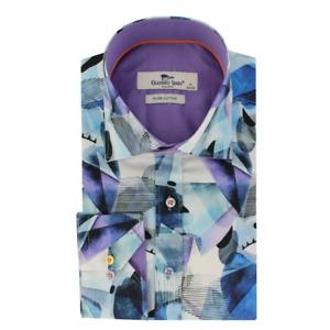 Claudio Lugli Mens Abstract Eye Print Shirt Blue CP6576 Size Medium Large XXXL